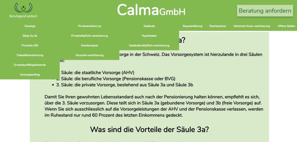 Calma GmbH Website vor der Optimierung durch Erfolg Reich Sein