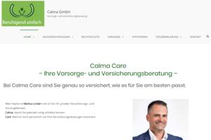 Website von Calma Care nach dem Business Coaching bei Erfolg Reich Sein